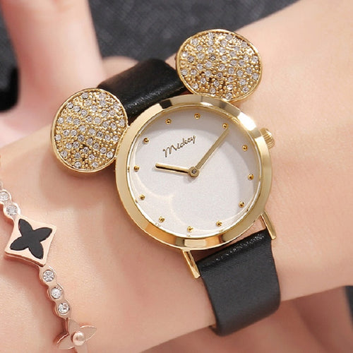 2019 New Disney Watch Women Cute Mickey Mouse Gold Girls Watches Fashion Casual Rhinestone Waterproof Leather Luxury Hot
