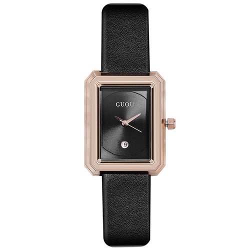 Small Dial Rose Gold Rectangle Women's Watch in Black
