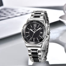 Load image into Gallery viewer, Silver Ladies watch by Pagani Design Black face straight angle