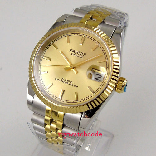Luxury 36mm Parnis yellow gold dial  jubilee bracelet Datejust Miyota 821A automatic mens watch