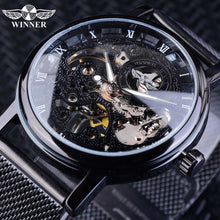 Load image into Gallery viewer, Winner Stainless Steel Mesh Band Transparent Classic Thin Case Hollow Skeleton Mens Male Mechanical Wrist Watch Top Brand Luxury