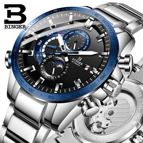 Genuine Luxury BINGER Brand Men automatic mechanical watch Luminous waterproof running full steel belt male fashion blue dial