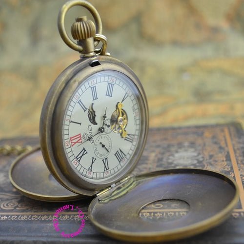 wholesale buyer price good quality retro Brass classic Antique Double Cover BOVET Mechanical Moon Phase Pocket Watch