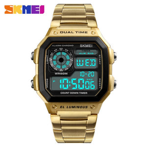 SKMEI Business Men Watches Waterproof Casual Watch Stainless Steel Digital Wristwatch Clock Relogio Masculino Erkek Kol Saati