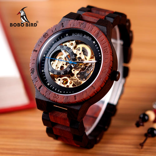 Wooden Watch for Men in red and black