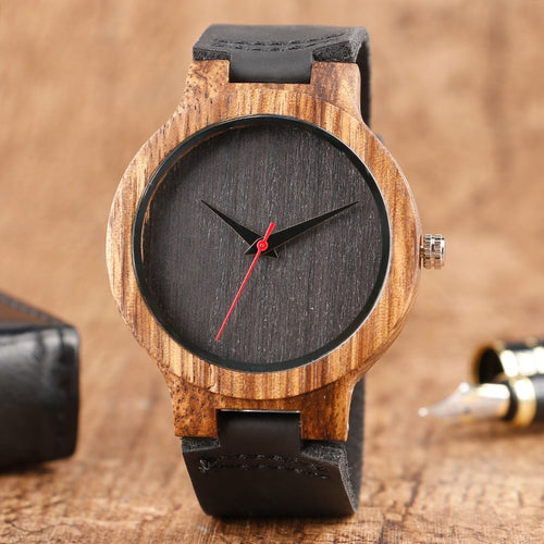 2019 Top Gift Black/Coffee/Green Dial Natural Bamboo Wood Watch Men Women Genuine Leather Wooden Clock Male hour Reloj de madera