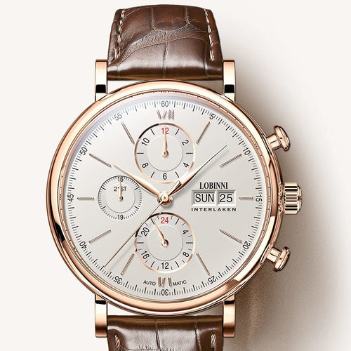 Men's Luxury Watches from Switzerland Leather Band White cream face