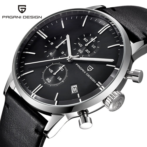Mens Watches Top Brand Luxury Waterproof 30M Genuine Leather Japanese Seiko VK67 Movement Quartz Watches Men Relogio Masculino