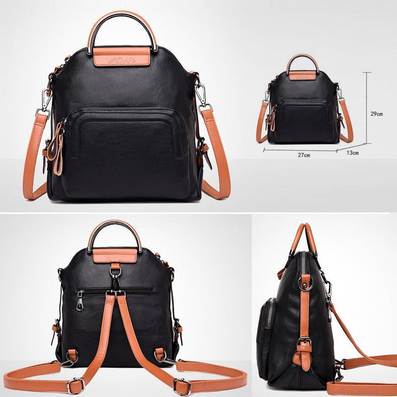 Dual-use Leather Backpack & Handbag