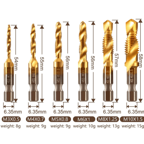6 PIECE METRIC THREAD TAP DRILL BITS SET