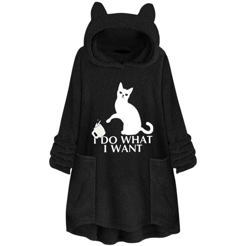 Fluffy Fleece Oversize Hoodie With Cat Ears