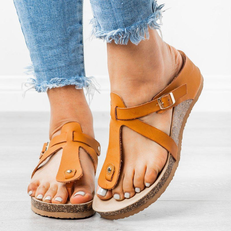 Sandals Pu Wedge Heel Summer Slippers