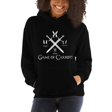 "Load image into Gallery viewer, UNISEX GAME OF CARROTS ""BUNNIES & SWORDS"" HOODIE"