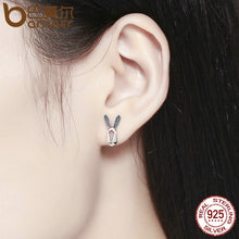 Load image into Gallery viewer, 925 Sterling Silver Geometric Rabbit Earrings