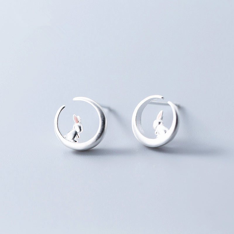925 Sterling Silver Rabbit Moon Stud Earrings