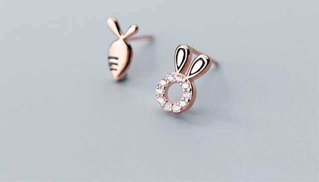 925 Sterling Silver Crystal Rabbit & Carrot Stud Earrings