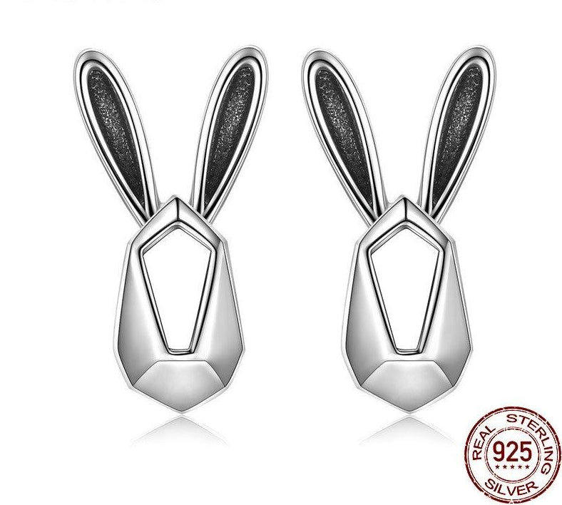 925 Sterling Silver Geometric Rabbit Earrings