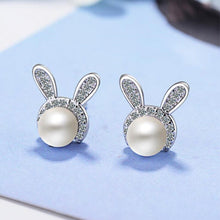 Load image into Gallery viewer, 925 Sterling Silver Rabbit Crystal Pearl Stud Earrings