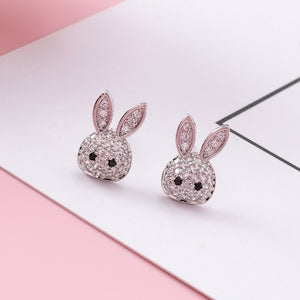 925 Sterling Silver Rhinestone Crystal Rabbit Stud Earrings