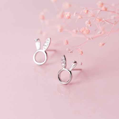 925 Sterling Silver Circular Rabbit Stud Earrings