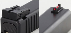 DAWSON PRECISION GLOCK ADJUSTABLE SIGHT SET - BLACK REAR & FIBER OPTIC FRONT