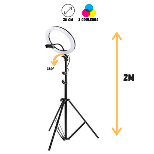 Streetiz Ring Light 28 cm - Pied 2 M - Streetiz