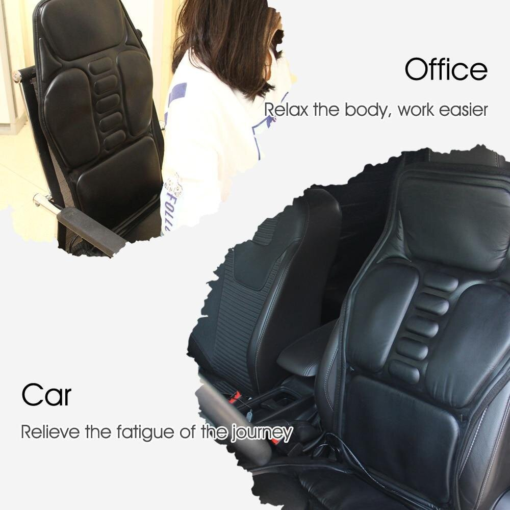Heating Vibrating Back Massager Chair-in-Cushion Car Home Office Lumbar Neck Pain Relief