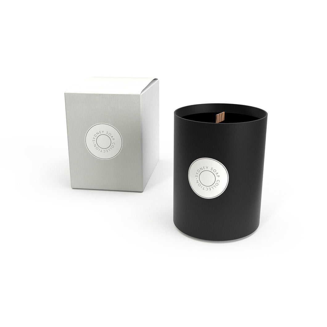 Fig & Brown Sugar - Large Black Glass Candle with Woodwick