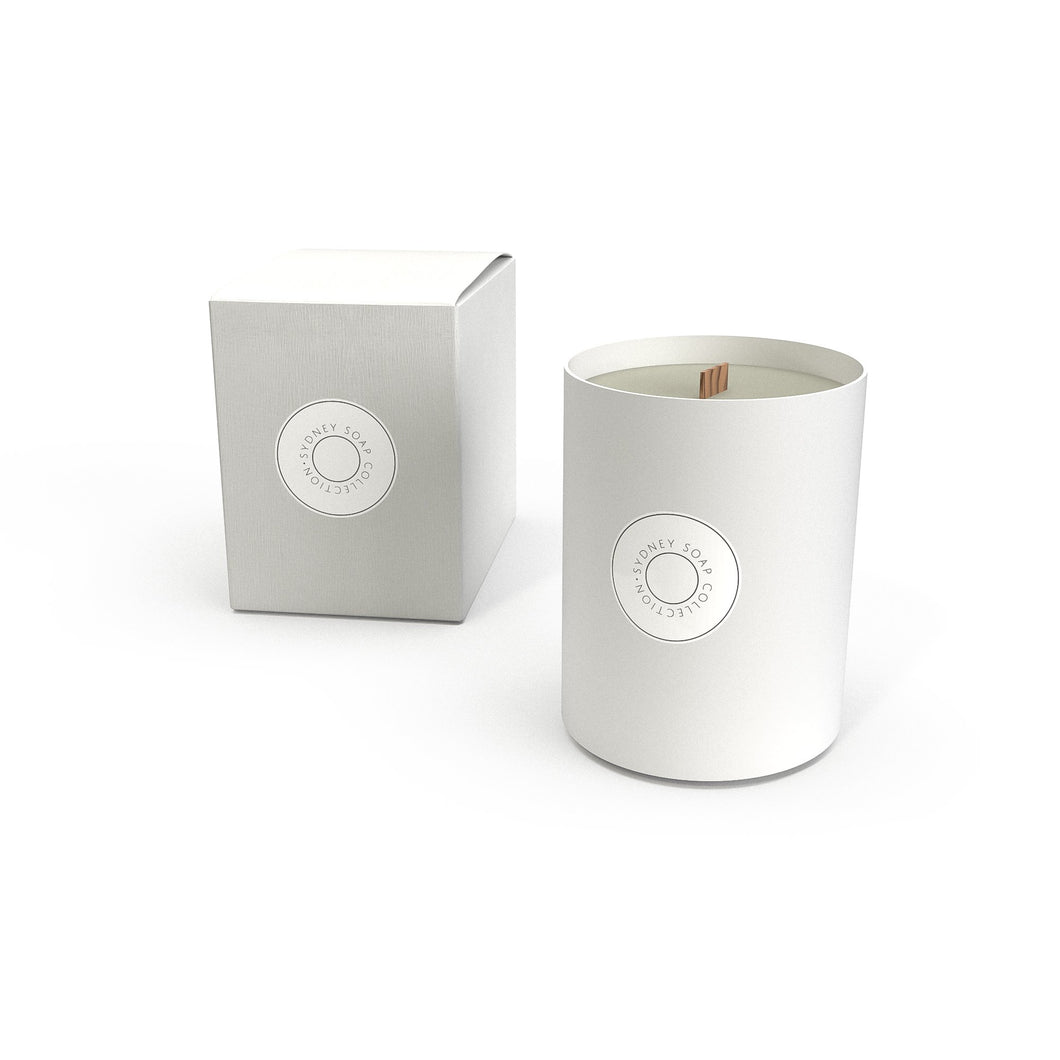 Champagne Strawberry - Large White Glass Candle with Woodwick