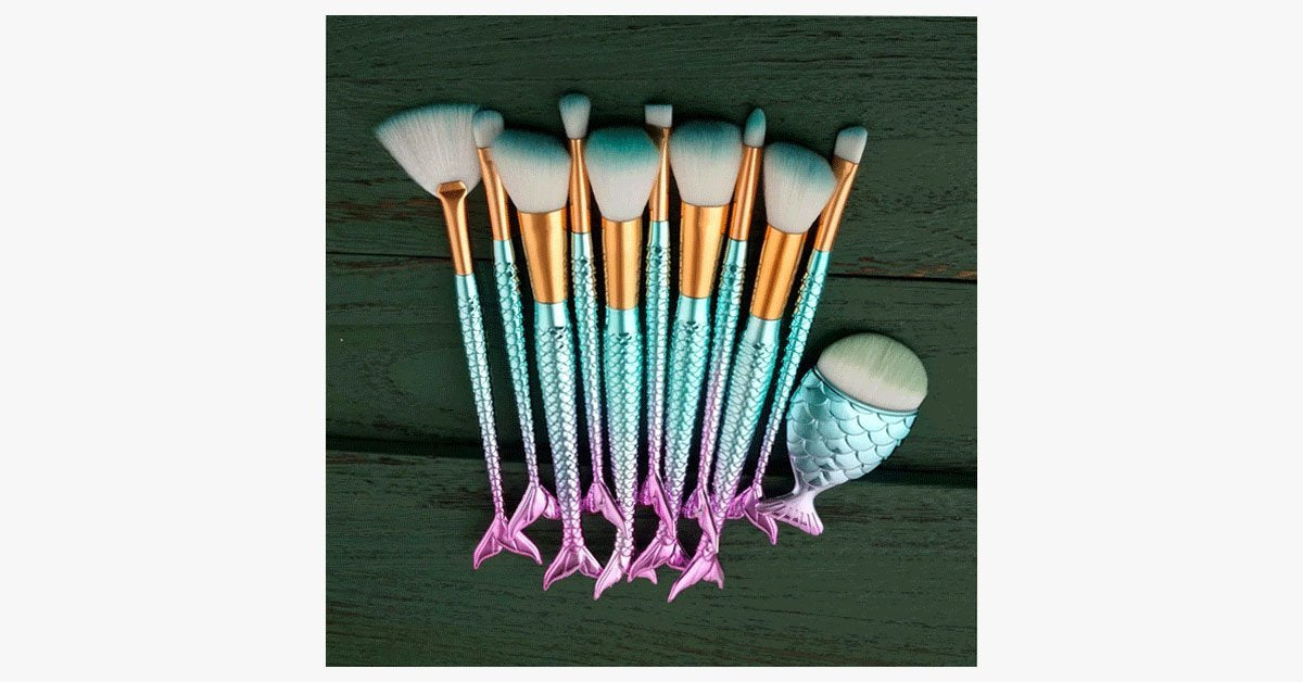 Blue Mermaid Brush Set with FREE Contour Brush - FREE SHIP DEALS