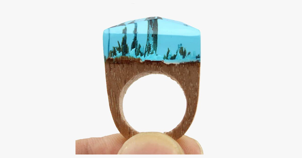 Aqua Snow Wood Ring - FREE SHIP DEALS
