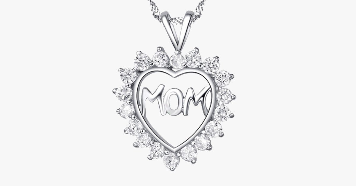 Mom's CZ Heart Pendant - FREE SHIP DEALS