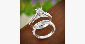 Silver Crystal Ring Set
