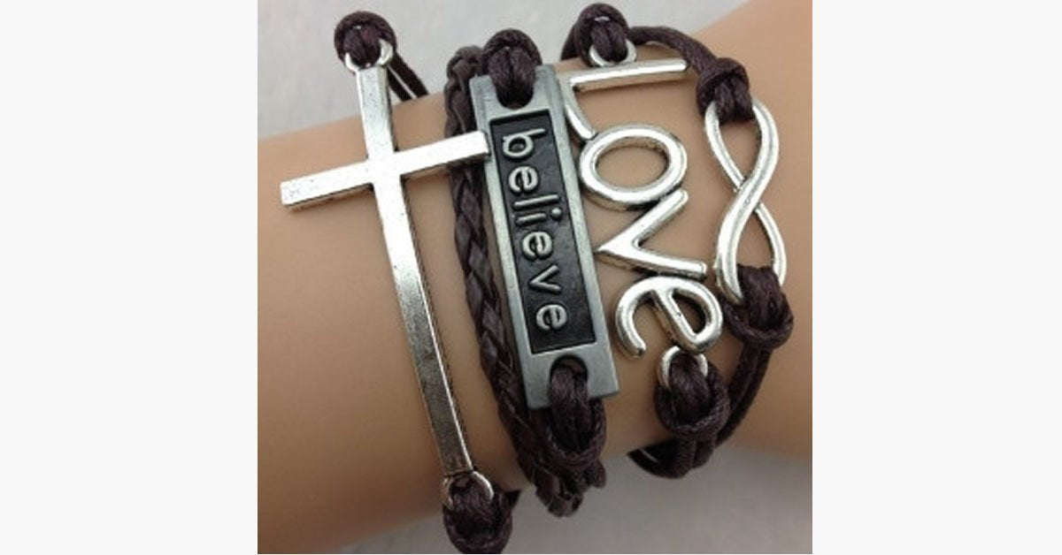 Infinity Love Believe Cross Bracelet