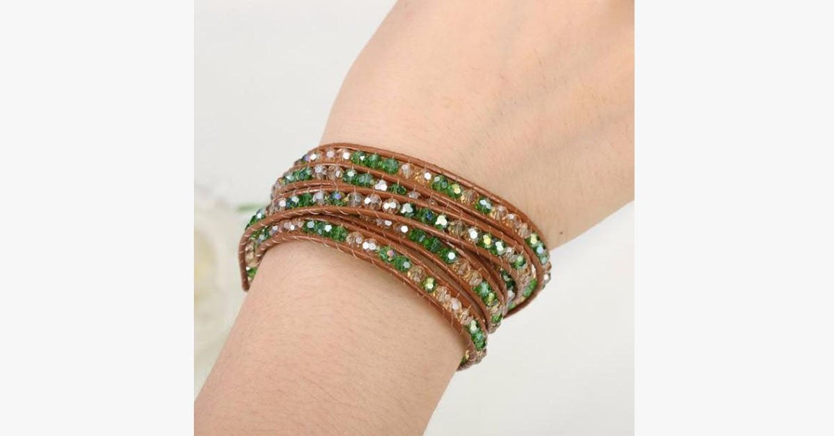 August Peridot Wrap Bracelet - FREE SHIP DEALS
