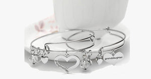 Grandmother Granddaughter Charms Bangle Set - FREE SHIP DEALS