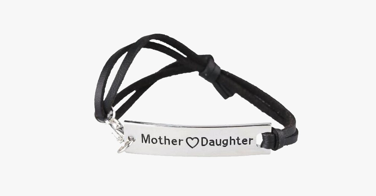 Mother Love Daughter Leather Strap Bracelet - FREE SHIP DEALS