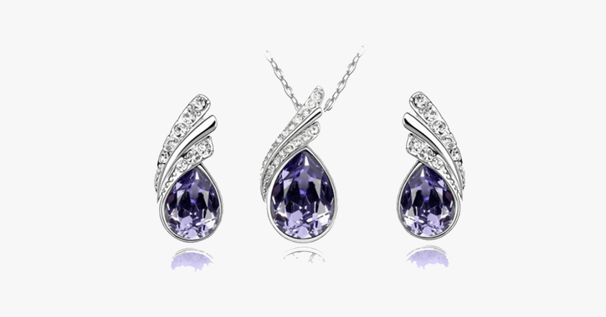 Angel Tear Drop Austrian Crystal Pendant & Earring Set - FREE SHIP DEALS