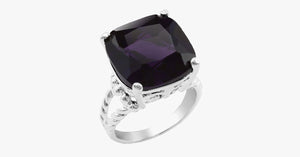 Silver Plated Cushion Cut 15mm Midnight Purple Cocktail Ring with Cable Split Shank - FREE SHIP DEALS