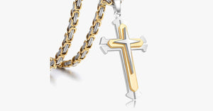 Men's Stainless Steel 3 Layer Cross Pendant