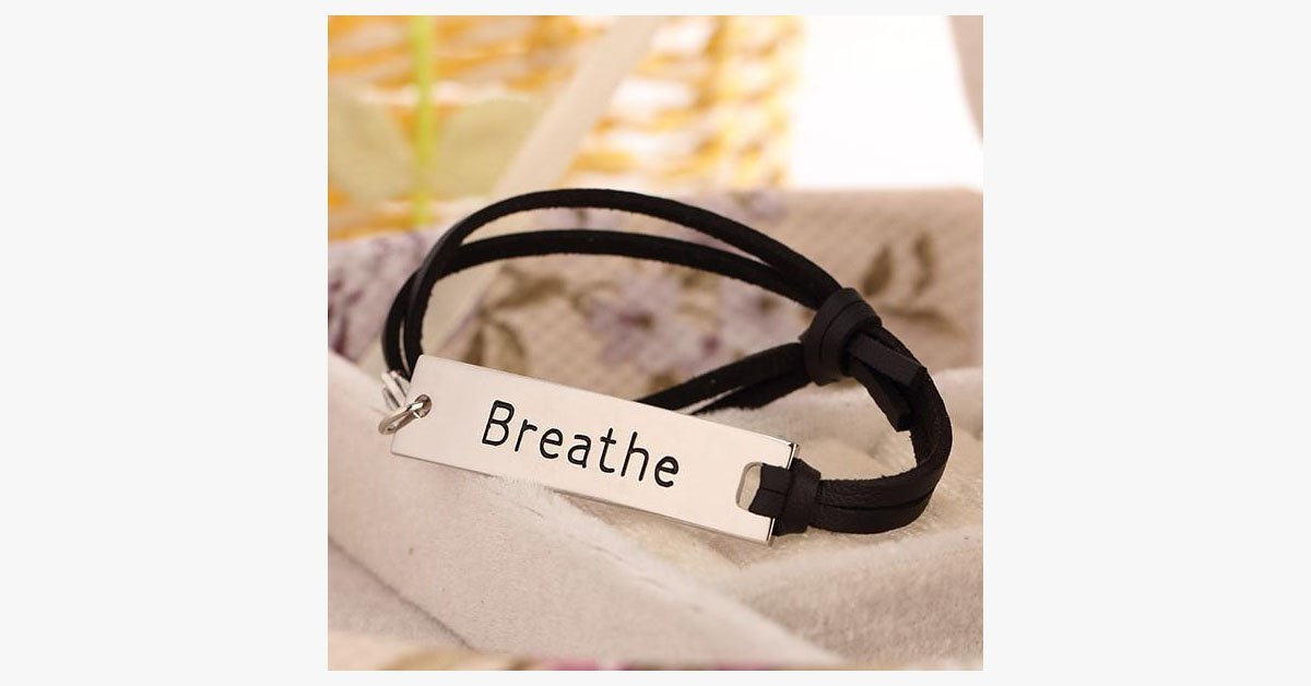 Breathe Leather Strap Bracelet - FREE SHIP DEALS