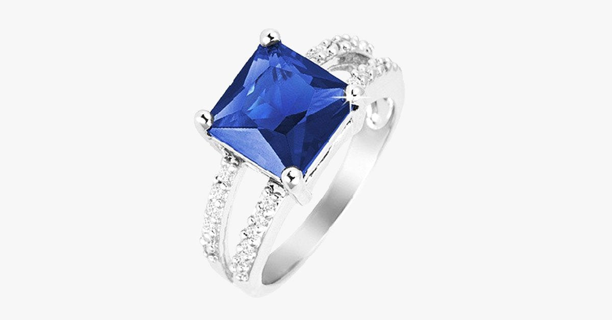 Sapphire Princes Cut Ring w/ Split Pave CZ Stones Rhodium Over Brass