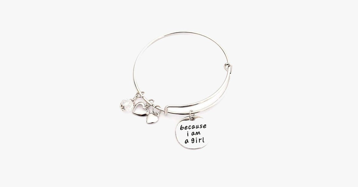 Because I am a Girl Charm Bangle - FREE SHIP DEALS