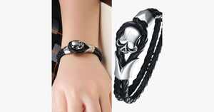 Dirty Skull Black Leather Men's Bracelet - FREE SHIP DEALS
