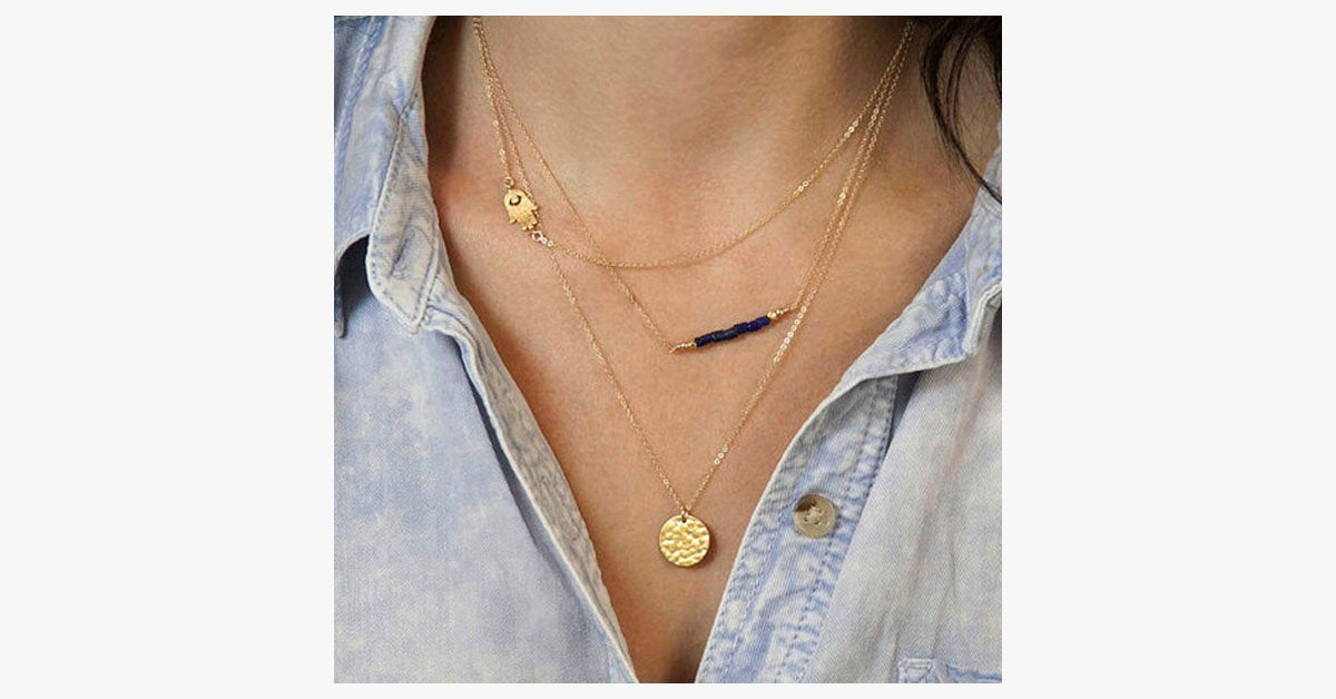 Double Chain Blue Bead Necklace - FREE SHIP DEALS