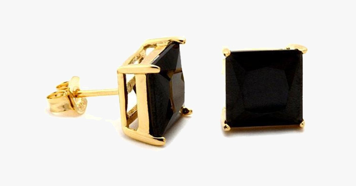 Gold and Black Princess Cut Studs - FREE SHIP DEALS