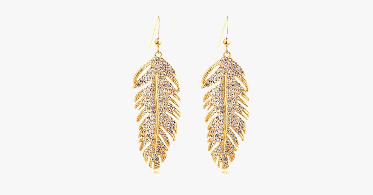 Gold Feather Earring - FREE SHIP DEALS