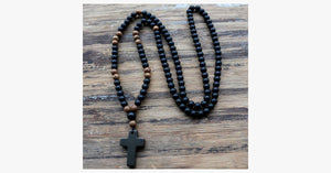 Black Cross Stone Wood Bead Necklace - FREE SHIP DEALS