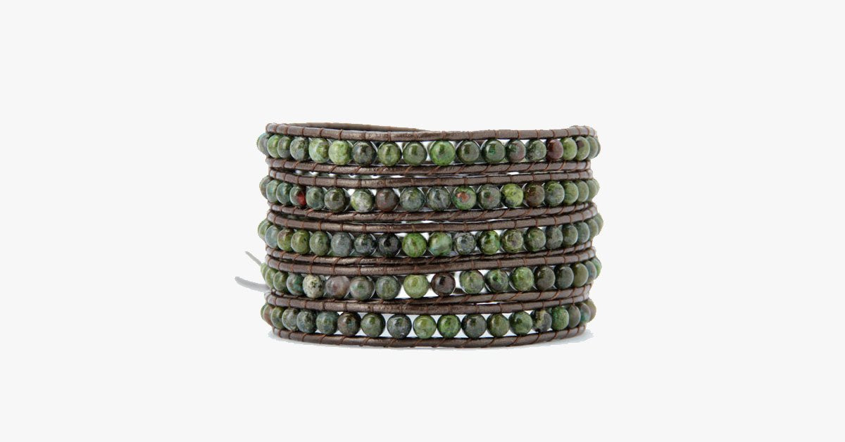 4MM  Natural Jasper Stone Wrap Bracelet - FREE SHIP DEALS