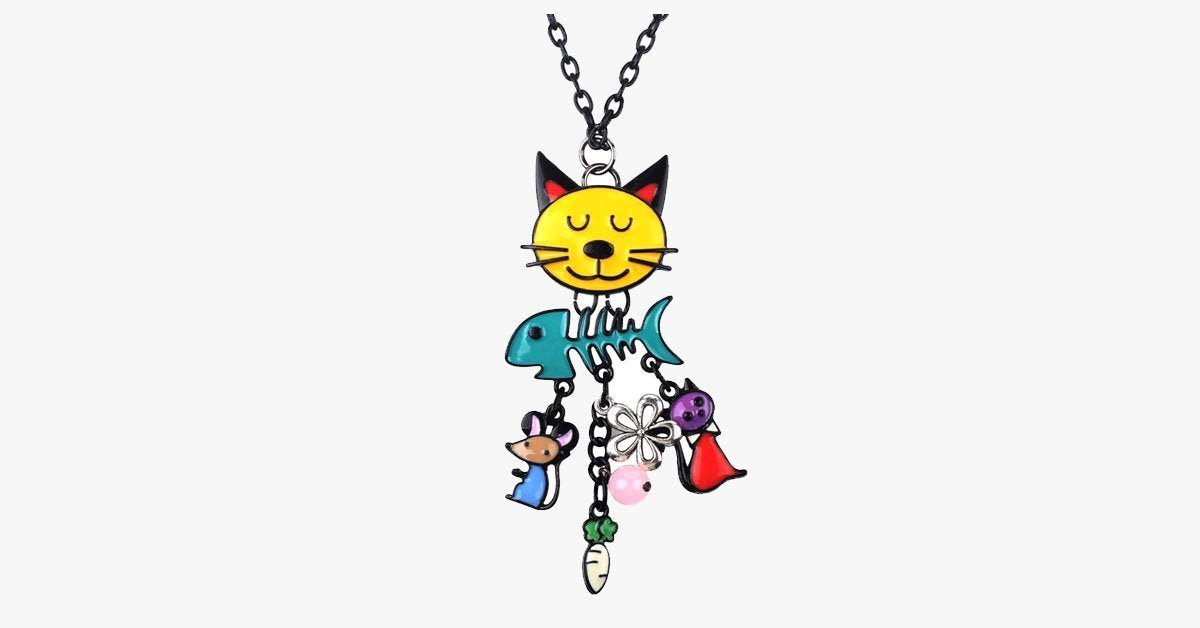 Cat Fish Pendant Necklace - FREE SHIP DEALS